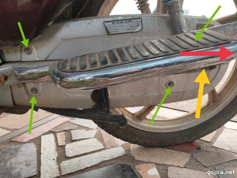 摩托车链条调整松紧度示意图